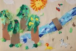 Olars 2. 10-11 år Djungel-collagearbete Elsa och Etti