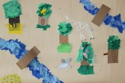 Olars 2. 10-11 år Djungel-collagearbete Sanni och Oona